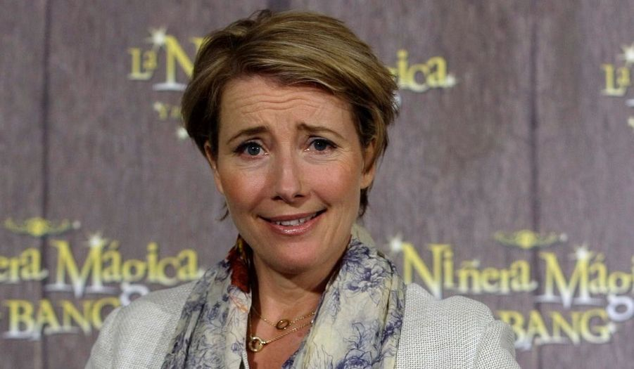 Emma Thompson en pleine promotion de Nanny McPhee et le Big Bang, à Madrid.