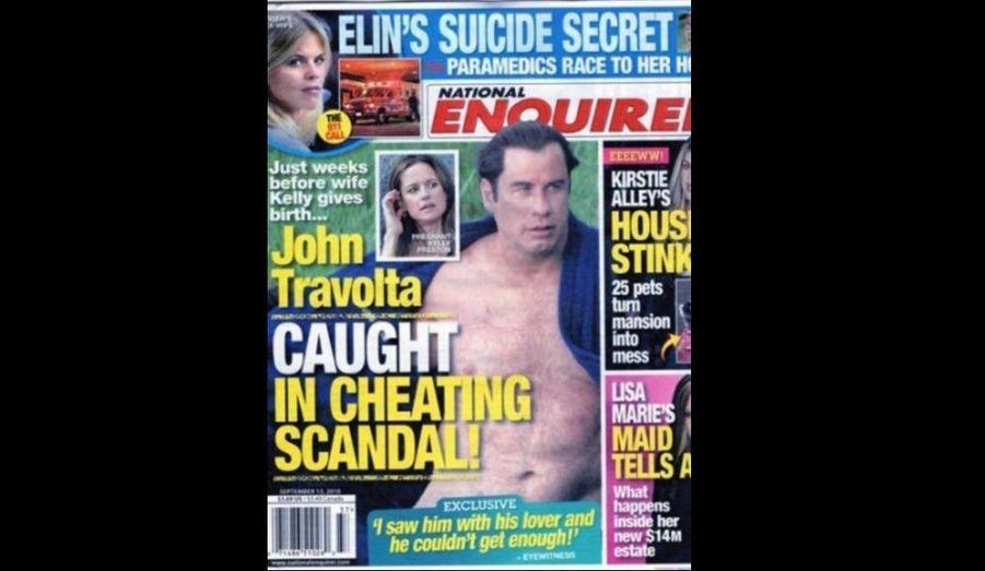 """John Travolta est accusé de tromper son épouse, depuis plusieurs années… avec des hommes. Dans sa nouvelle édition, le National Enquirer fait fort. L'hebdomadaire a interviewé un certain Robert Randolph, qui prépare actuellement la sortie d'un livre intitulé You'll Never Spa in This Town Again (traduire: """"Vous n'irez plus jamais dans un spa dans cette ville"""") dans lequel il révèle les pratiques gay qui s'y déroulent.... Parmi ces """"cibles"""", un certain John Travolta, qui attend un enfant avec sa femme Kelly Preston (47 ans). A côté de l'acteur de Grease, Tiger Woods serait """"un boy scout"""", affirme l'auteur. A noter que les sites people réputés sérieux, à l'instar de People et TMZ, n'ont pas relayé l'information, à prendre avec des pincettes..."""