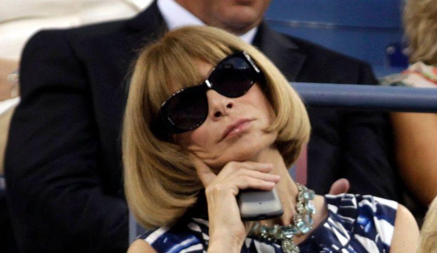 La célèbre rédactrice en chef du Vogue Américain, Anna Wintour, a assisté lundi aux matches d'ouverture du tournoi US Open à New York.