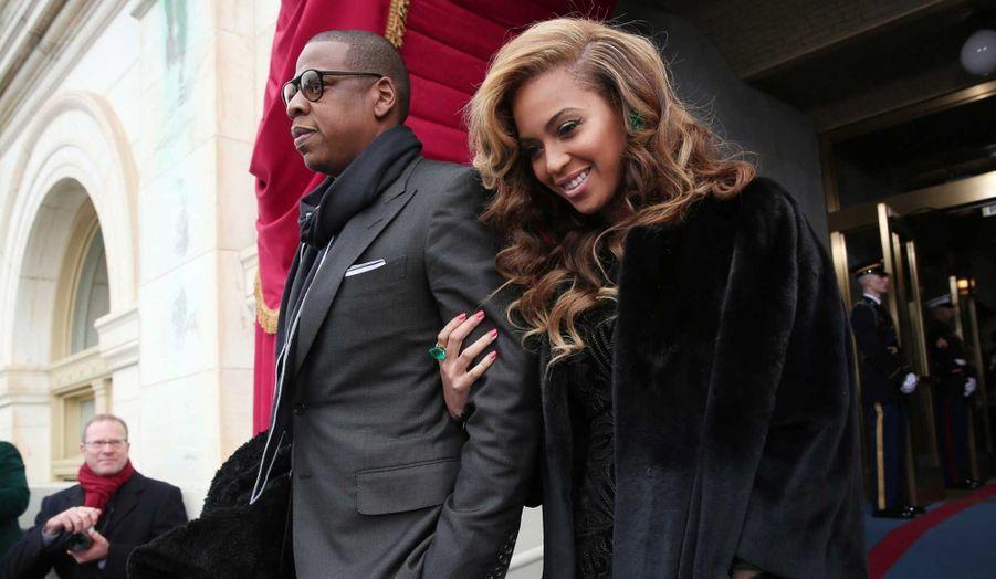 Beyoncé et son mari Jay-Z à leur arrivée pour la cérémonie d'investiture de Barack Obama à Washington.