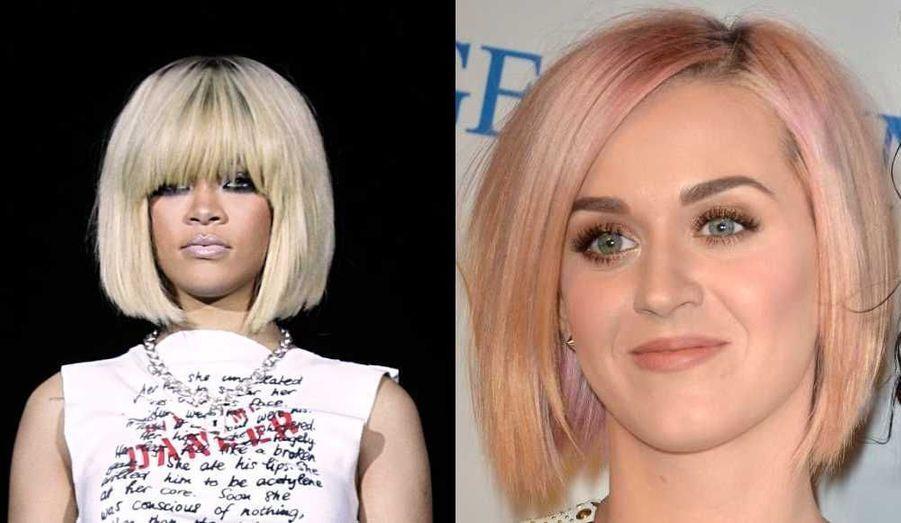 Ce week-end, alors que Rihanna est apparue avec une nouvelle coupe de cheveux au concert de KIIS FM, le Jingle Ball 201 à Los Angeles, Katy Perry en a fait de même au 3e gala annuel Change Begins Within Benefit, un événement de charité organisé au LACMA à Los Angeles par la David Lynch Foundation. Les deux chanteuses, adeptes des expériences capillaires en tout genre, ont toutes deux affiché un carré plongeant blond platine –à la différence que celui de RiRi était doté d'une frange, et que la couleur de Katy était nuancée de rose…