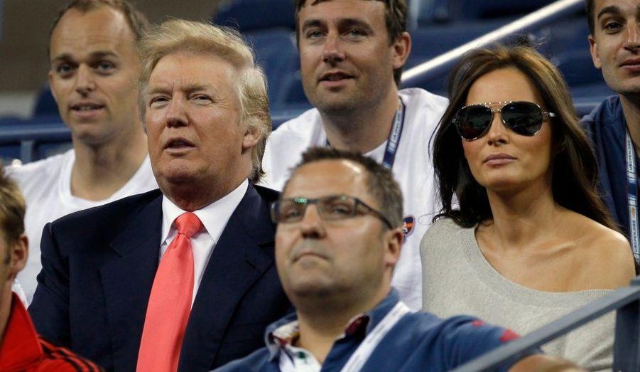 Le milliardaire Donald Trump et sa femme Melania Knauss ont assisté à un match de l'US Open hier à New York.