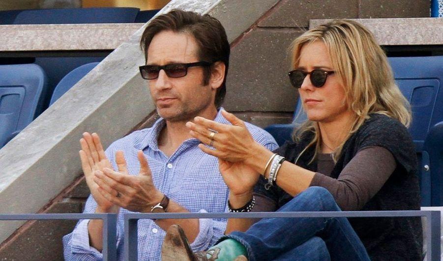 David Duchovny et son épouse Tea Leoni ont asisté à la victoire de Rafael Nadal contre Djokovic lors de la finale masculine du tournoi de tennis US Open à New York.