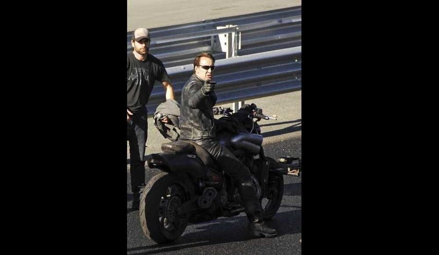 Nicolas Cage sur le tournage de Ghost Rider: Spirit of Vengeance à Bucharest.