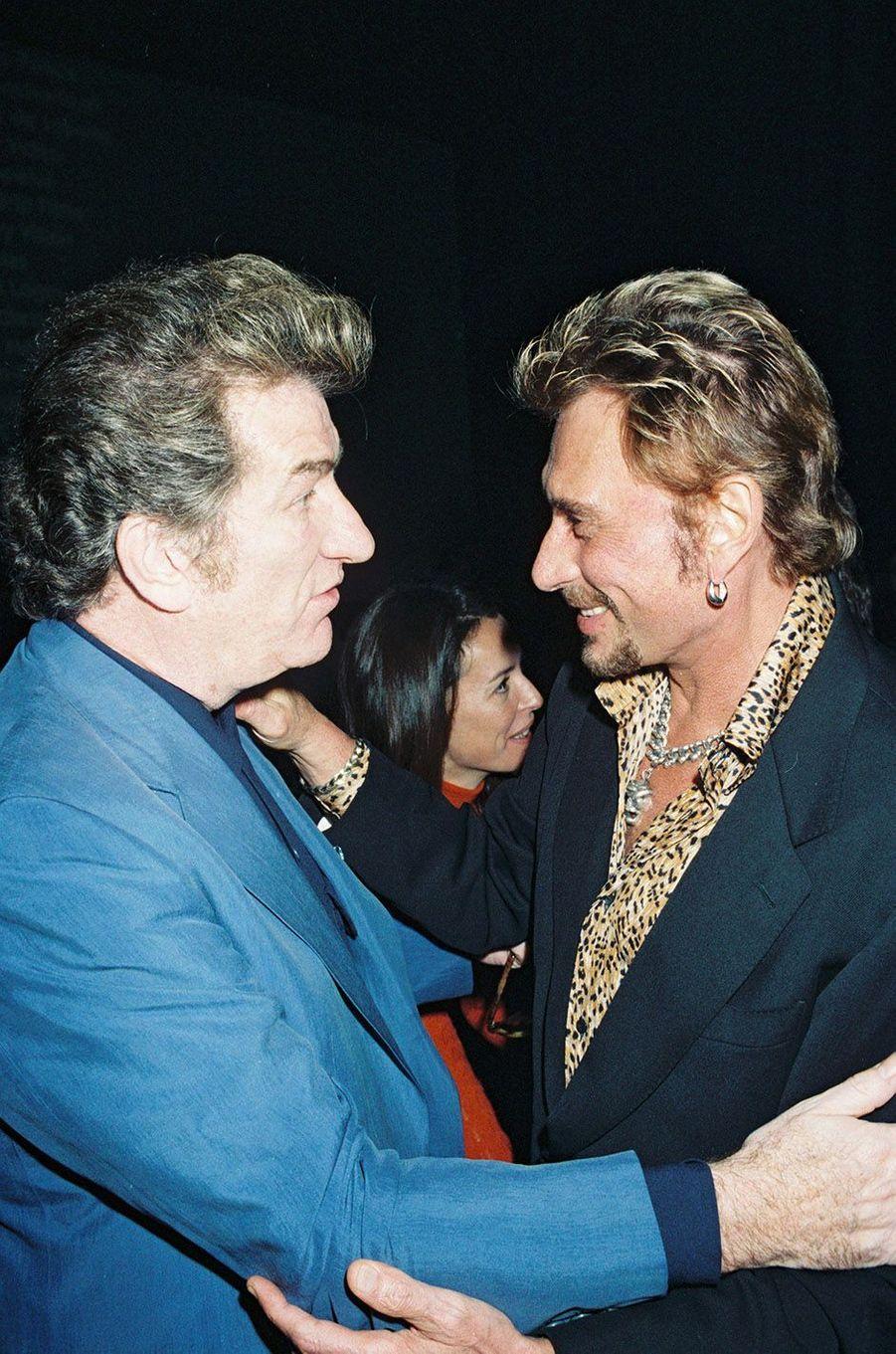 Johnny Hallyday et Eddy Mitchell en 1998.