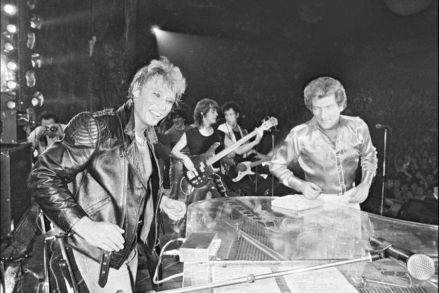 Johnny Hallyday et Eddy Mitchell en 1980.
