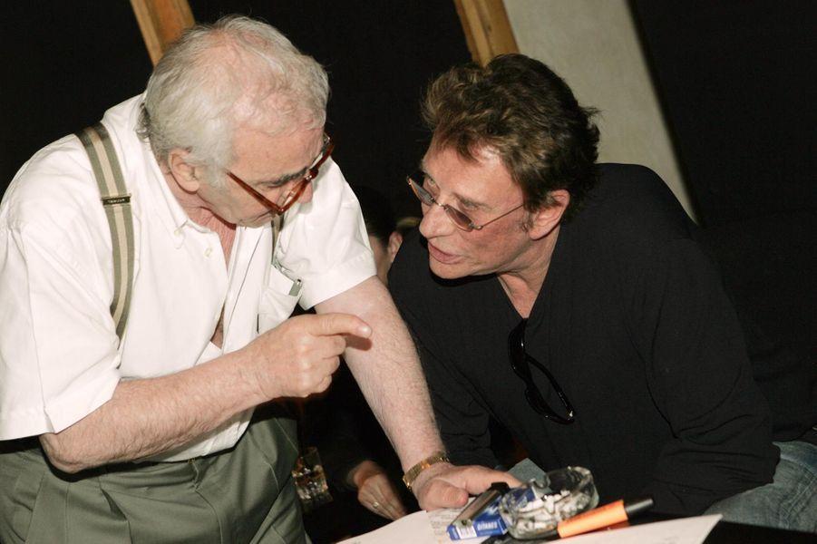 Johnny Hallyday et Charles Aznavour en 2004.