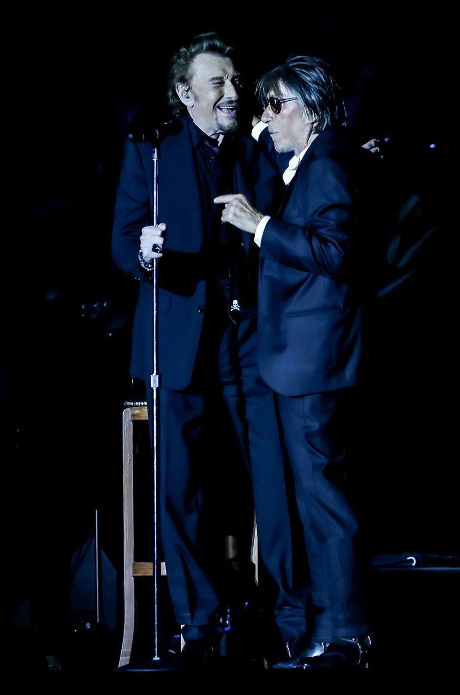 Johnny Hallyday et Jacques Dutronc à Lille en juin 2017.