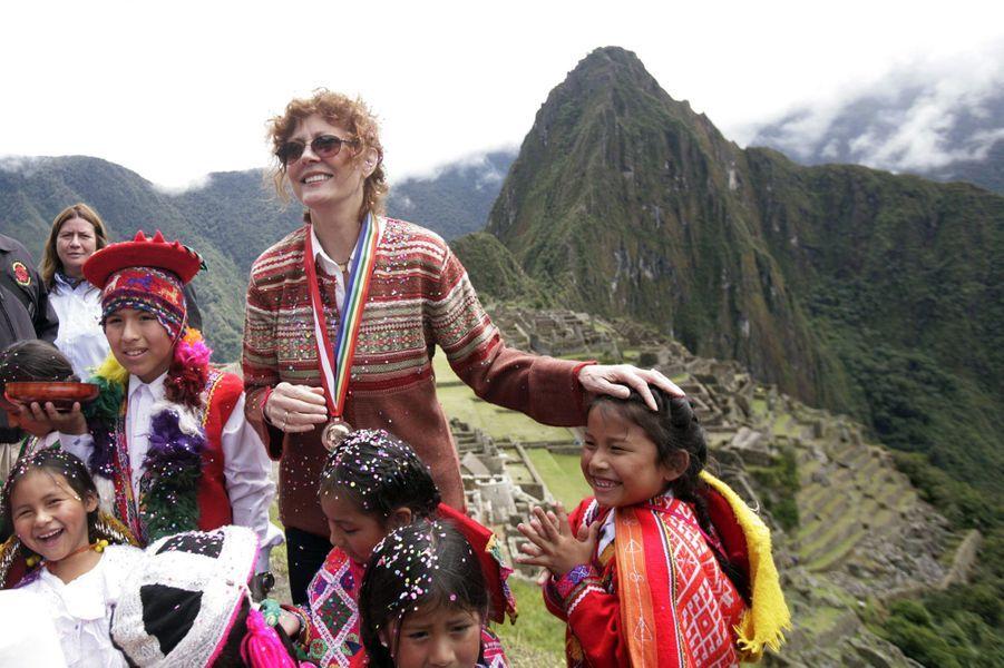 Susan Sarandon en visite sur le Machu Picchu, 2010.