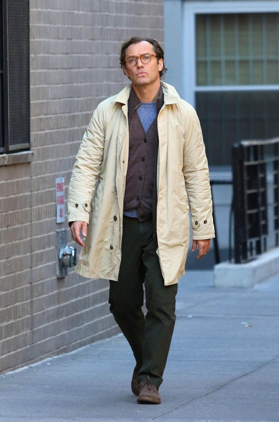 Jude Lawsur le tournage du nouveau film de Woody Allen, le 19 octobre 2017.