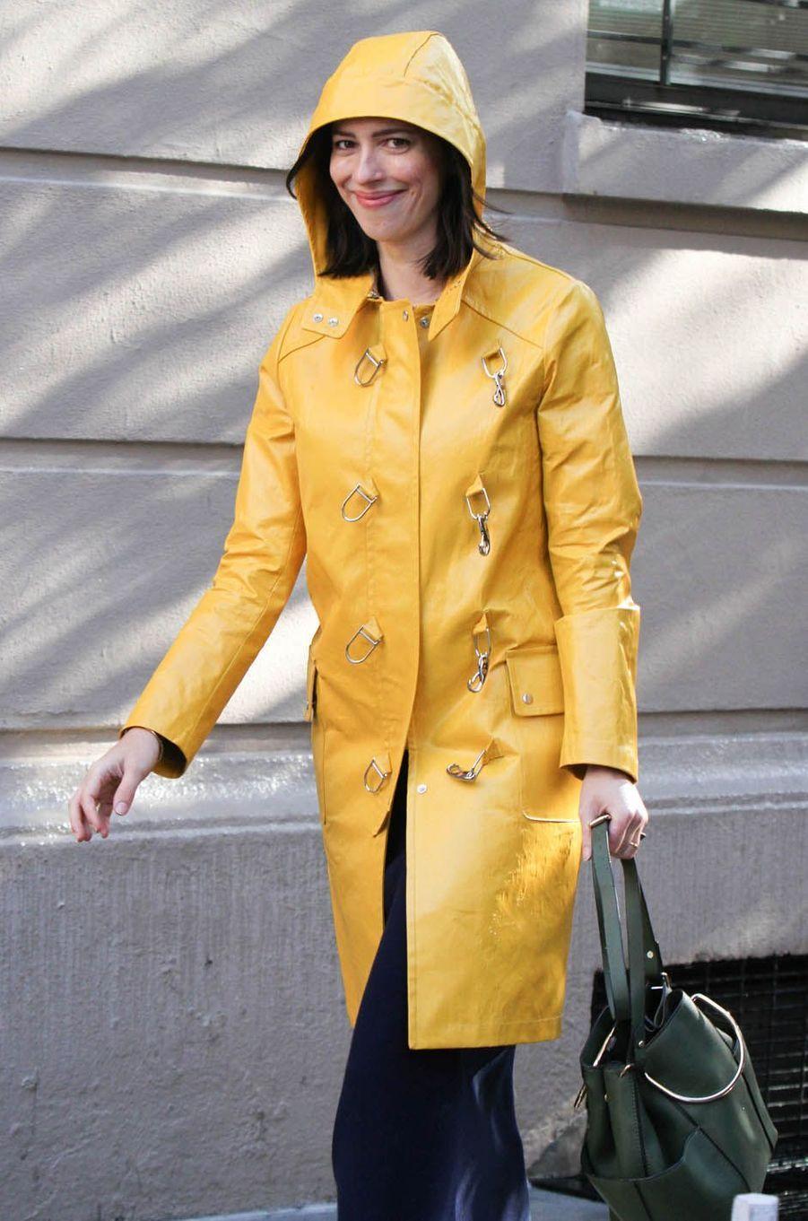 Rebecca Hallsur le tournage du nouveau film de Woody Allen, le 19 octobre 2017.