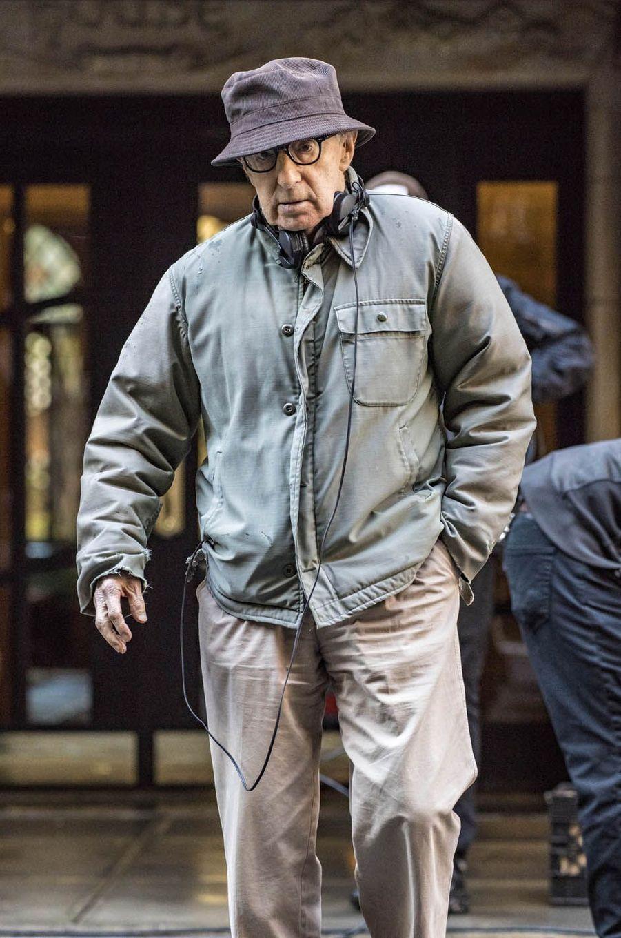 Woody Allensur le tournage du nouveau film de Woody Allen, le 19 octobre 2017.