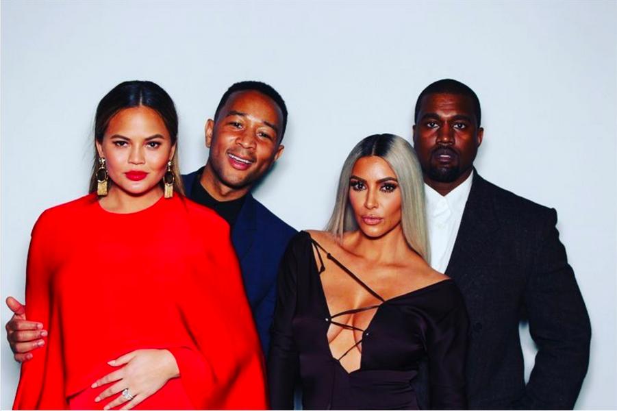 Chrissy Teigen, John Legend, Kim Kardashian et Kanye West