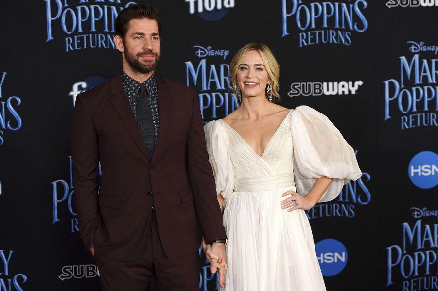 """Emily Blunt et son mari John Krasinski à l'avant-première mondiale du """"Retour de Mary Poppins"""" à Los Angeles, jeudi 29 novembre"""