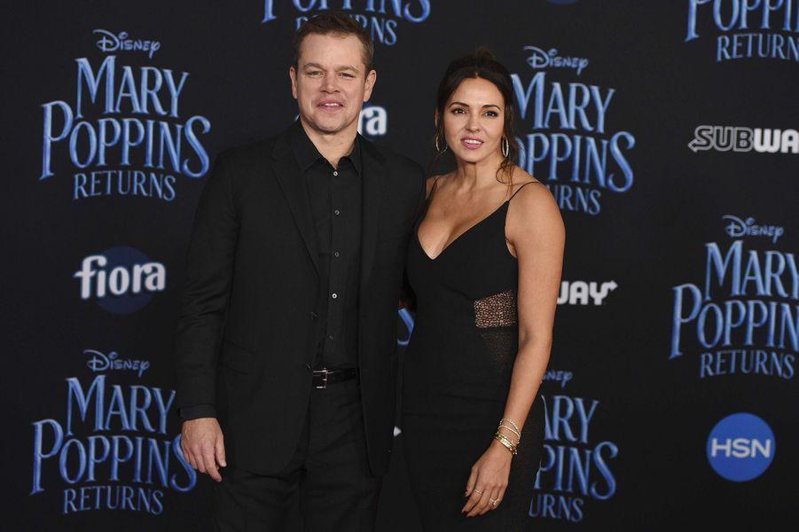 """Matt Damon et sa femme Luciana Barroso à l'avant-première mondiale du """"Retour de Mary Poppins"""" à Los Angeles, jeudi 29 novembre"""
