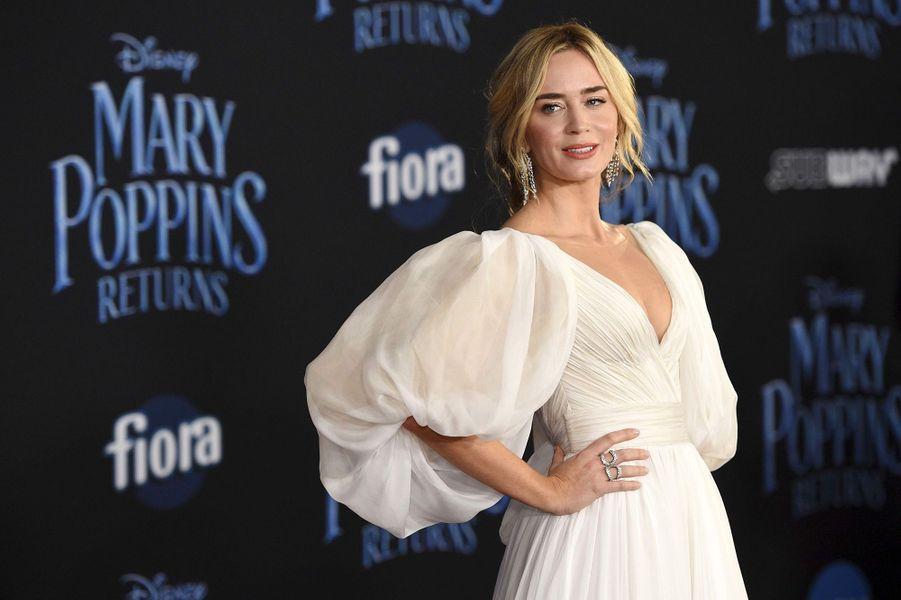 """Emily Blunt à l'avant-première mondiale du """"Retour de Mary Poppins"""" à Los Angeles, jeudi 29 novembre"""