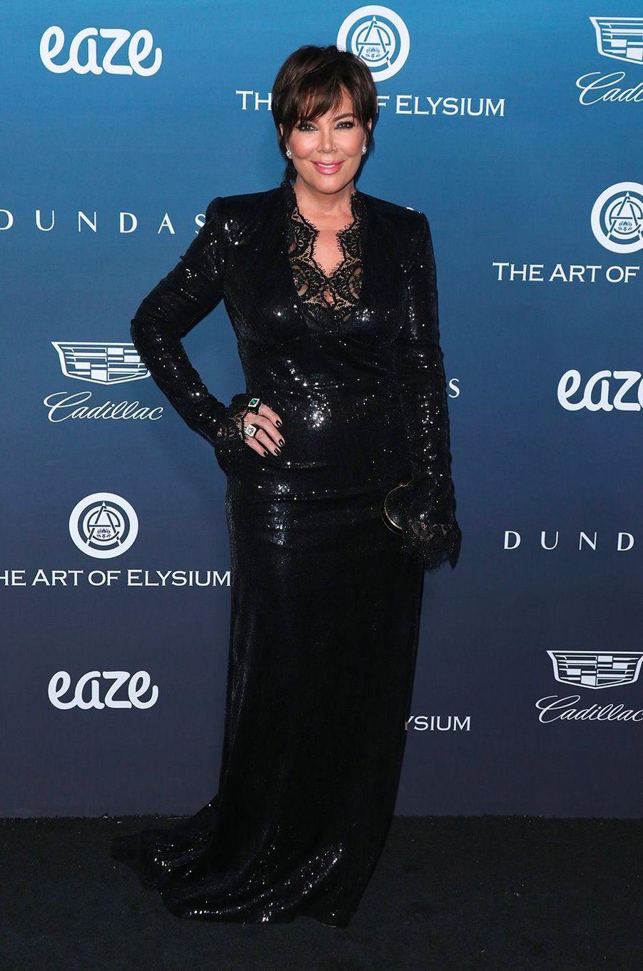 Kris Jenner au gala Art of Elysium, à Los Angeles, samedi 5 janvier