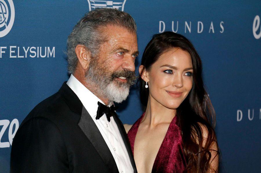 Mel Gibson et sa femme Rosalind Ross au gala Art of Elysium, à Los Angeles, samedi 5 janvier