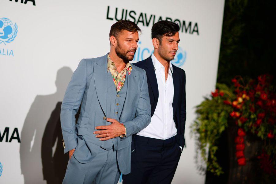 Ricky Martin et son mari Jwan Yosef au gala de l'UNICEF à Porto Cervo (Sardaigne) le 10 août 2018