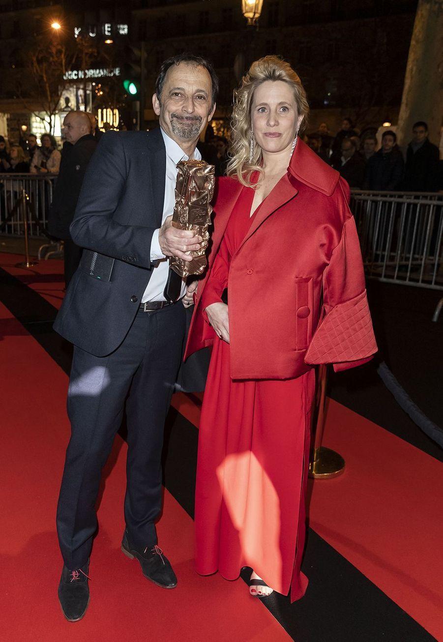 """Eric Métayer et Andréa Bescond (meilleure adaptation pour """"Les Chatouilles"""")au dîner de la 44ème cérémonie des César au Fouquet's à Paris le 22 février 2019"""