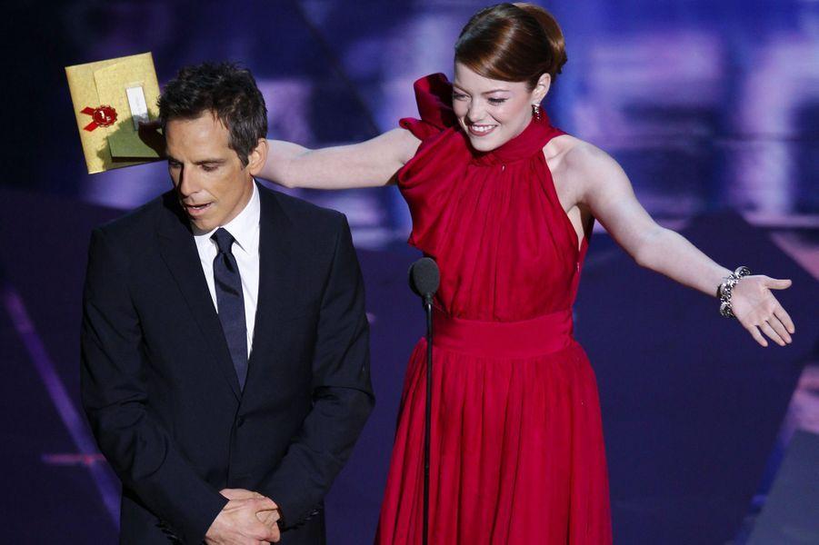 Emma Stone, avec Ben Stiller, le 27 février 2012