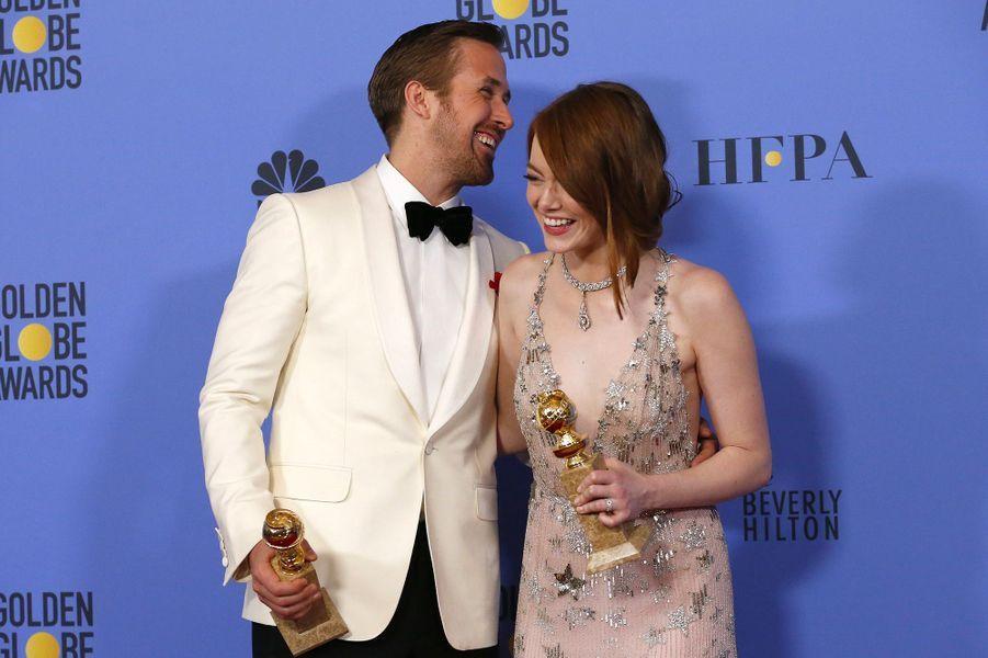 Emma Stone, avec Ryan Gosling, le 9 janvier 2017