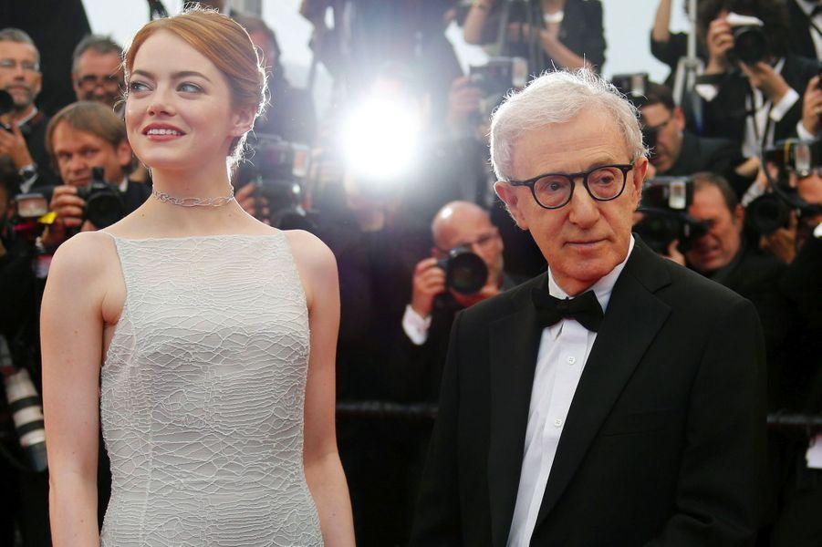 Emma Stone, avec Woody Allen, le 15 mai 2015