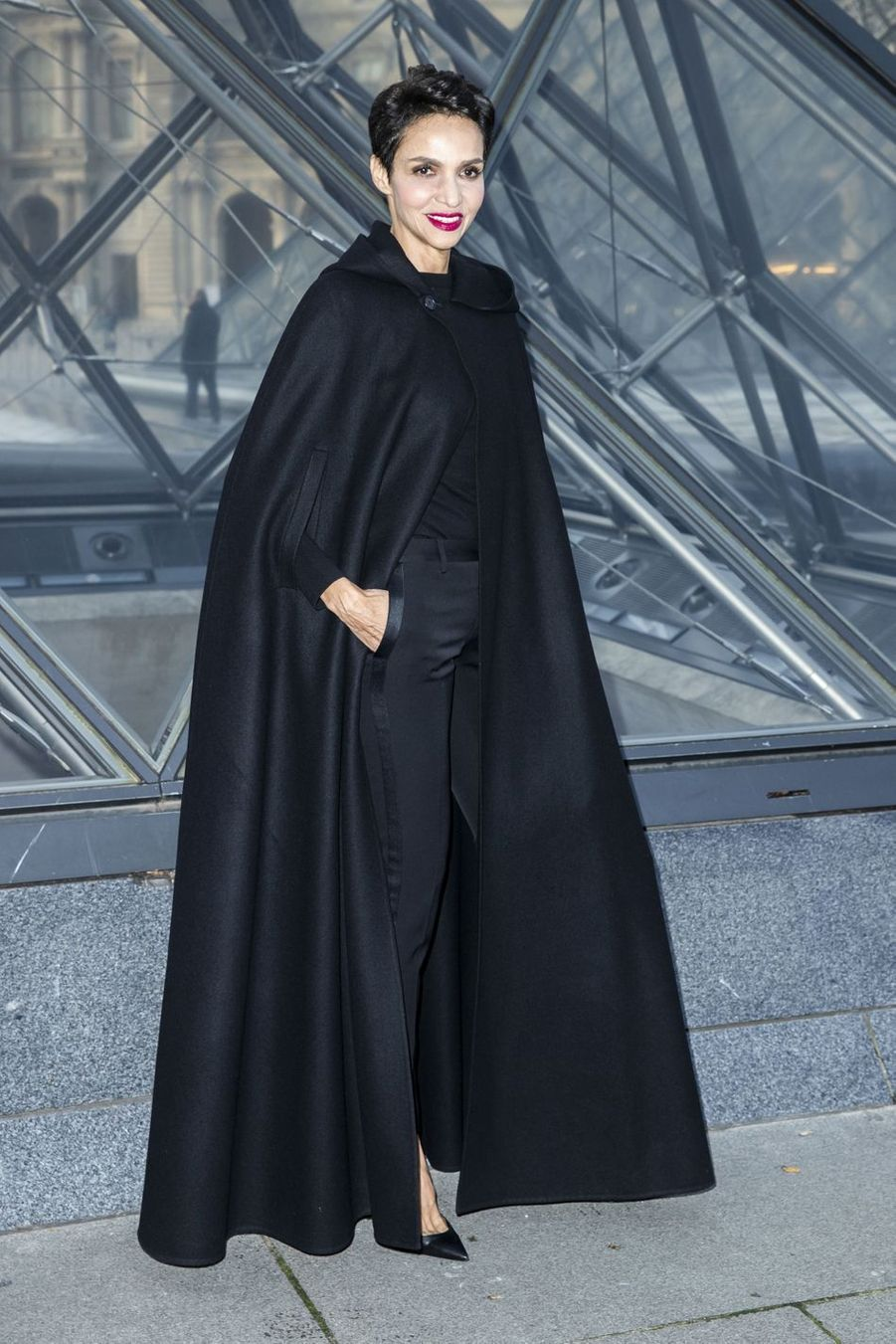 Farida Khelfa au défilé Louis Vuitton à Paris, le 5 mars 2019