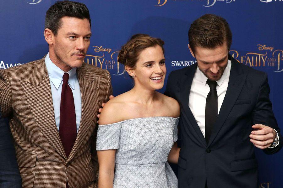Luke Evans, Emma Watson et Dan Stevens.