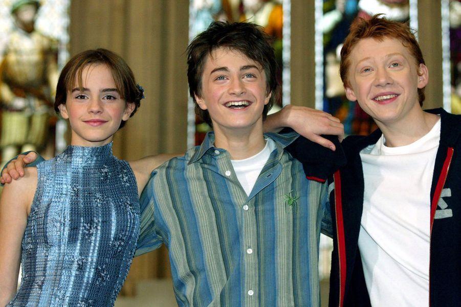 Emma Watson, Daniel Radcliffe et Rupert Grint en 2002.