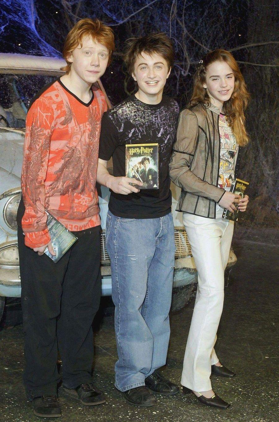 Emma Watson, Daniel Radcliffe et Rupert Grint en 2003.