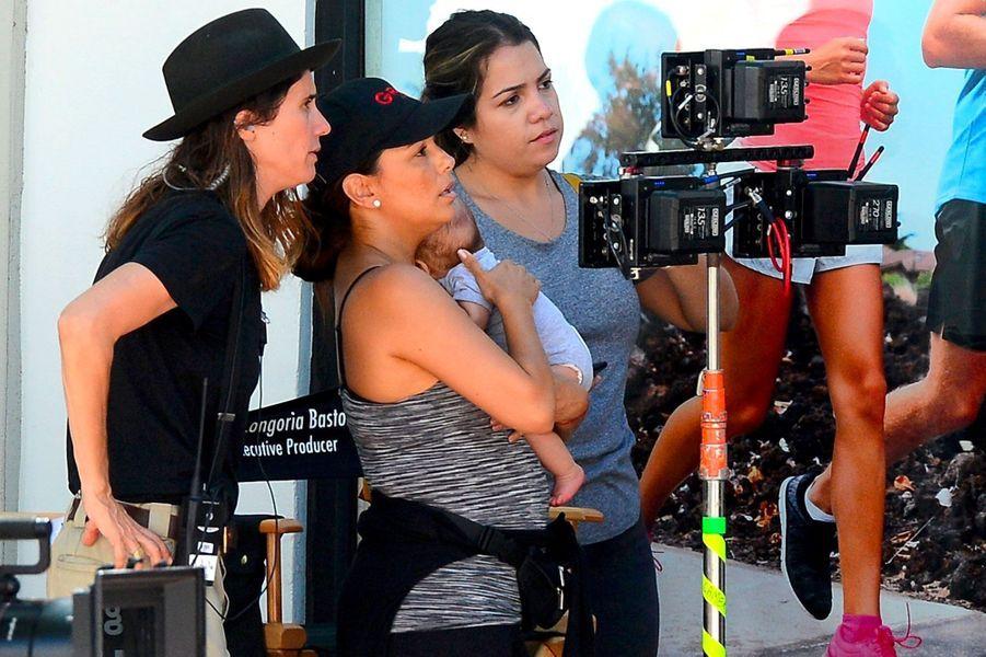 """Eva Longoria sur le tournage de """"Grand Hotel"""" le 29 août 2018"""