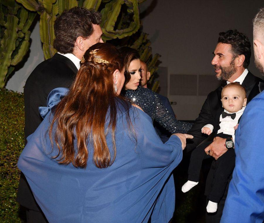 "Philippe et CamilleSereys de Rothschild, Eva Longoria, José Antonio Baston et leur fils Santiagoau ""Global Gift Gala"" à Cannes, le 20 mai 2019"