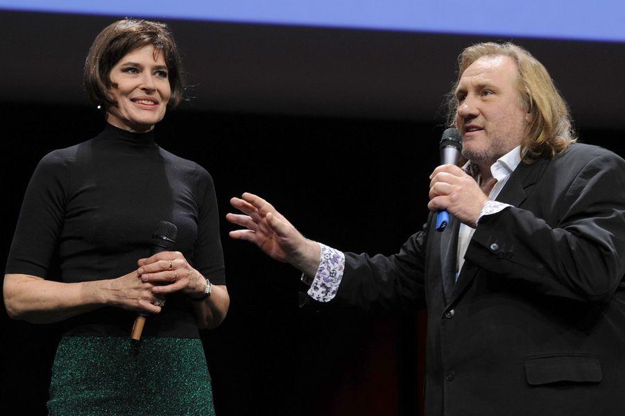 Fanny Ardant et Gérard Depardieu à la fête des Lumières à Lyon en 2011.