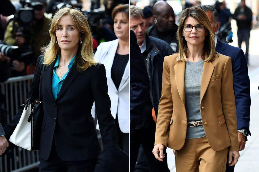 Felicity Huffman et Lori Loughlin à leur sortie du tribunal de Boston le 3 avril 2019