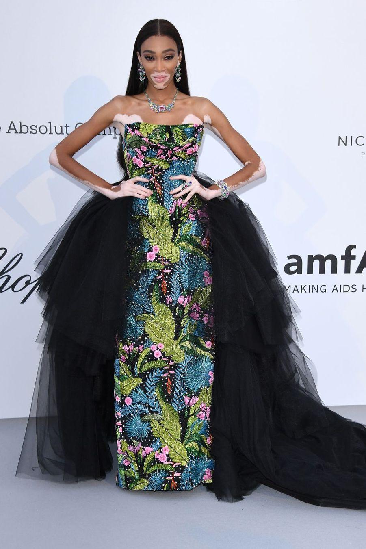 Winnie Harlow au gala de l'amfAR à Antibes en marge du Festival de Cannes le 23 mai 2019
