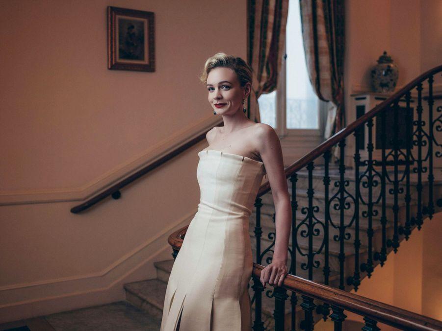 Le 9 mai, Carey Mulligan, bijoux Chaumet, robe Dior, au Carlton.