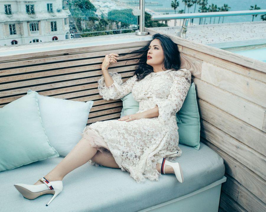 Le 13 mai, Salma Hayek sur la terrasse Kering.
