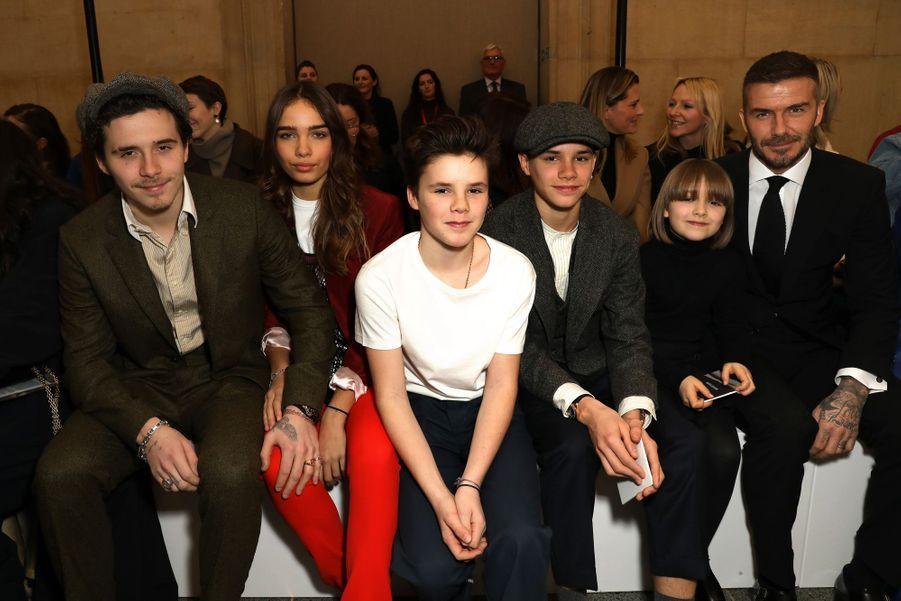 David Beckham et ses enfantsBrooklyn, Cruz, Romeo et Harper à Londres, le 17 février 2019