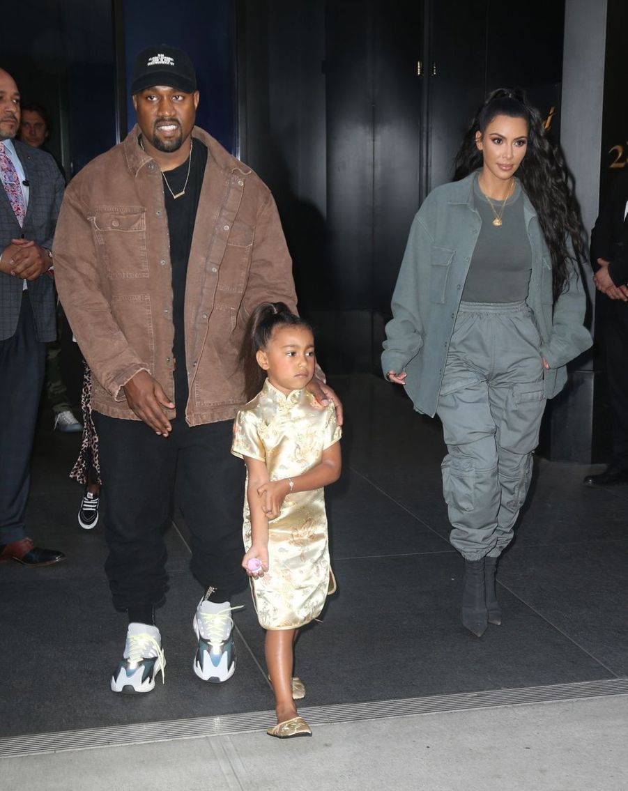 Kim Kardashian, Kanye West et leur fille North à New York, le 15 juin 2018