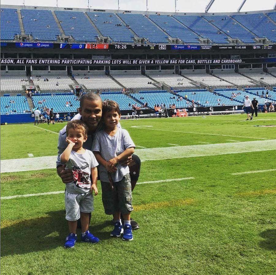 Tony Parker et ses enfants Josh et Liam en Caroline du Nord, le 23 septembre 2018