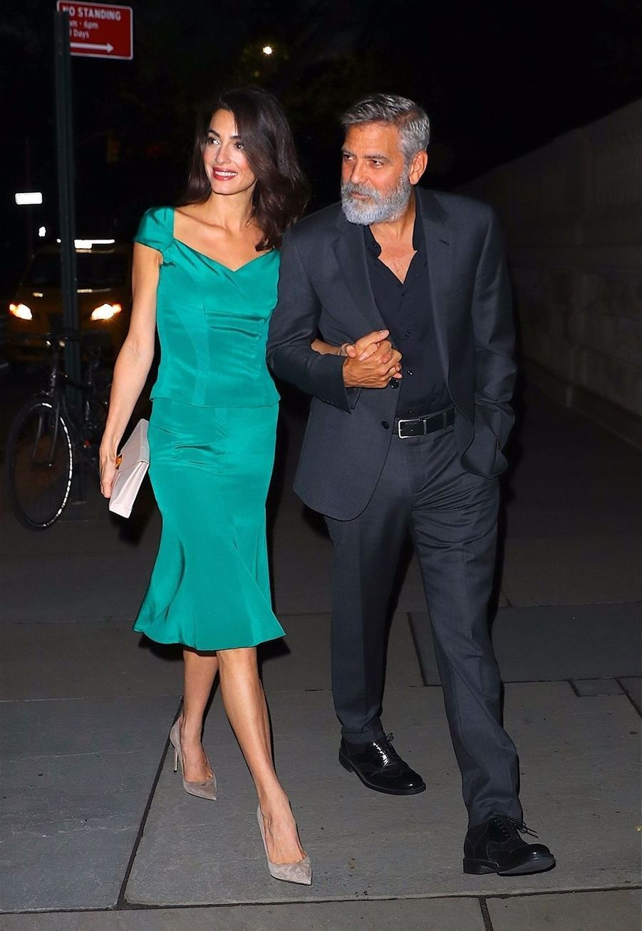 Amal et George Clooneyà New York le 1er octobre 2019