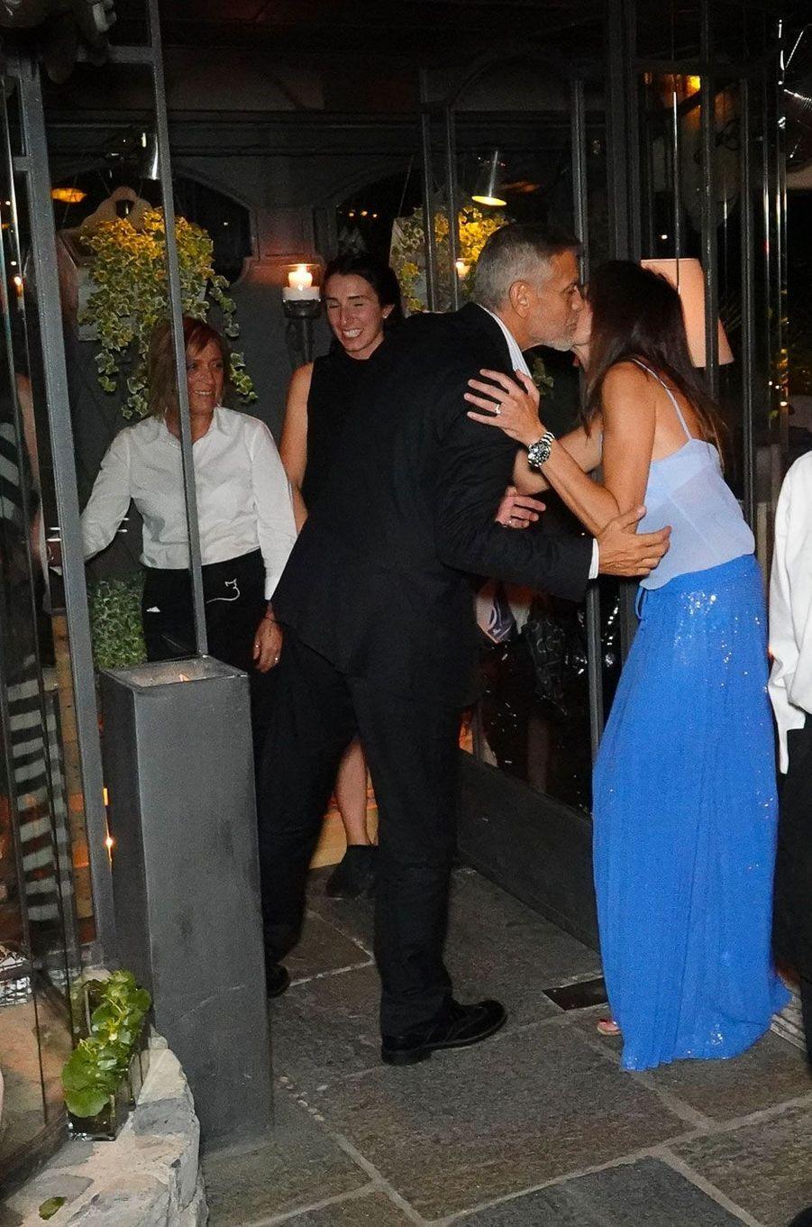"George Clooney au restaurant ""Il Gatto Nero"" à Cernobbio, le 3 août 2018"