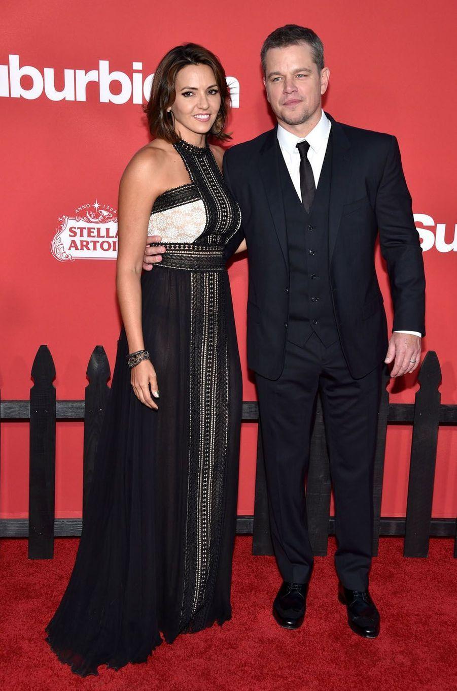 """Luciana Barroso et Matt Damonà l'avant-première de """"Suburbicon"""", le 22 octobre 2017 à Los Angeles."""