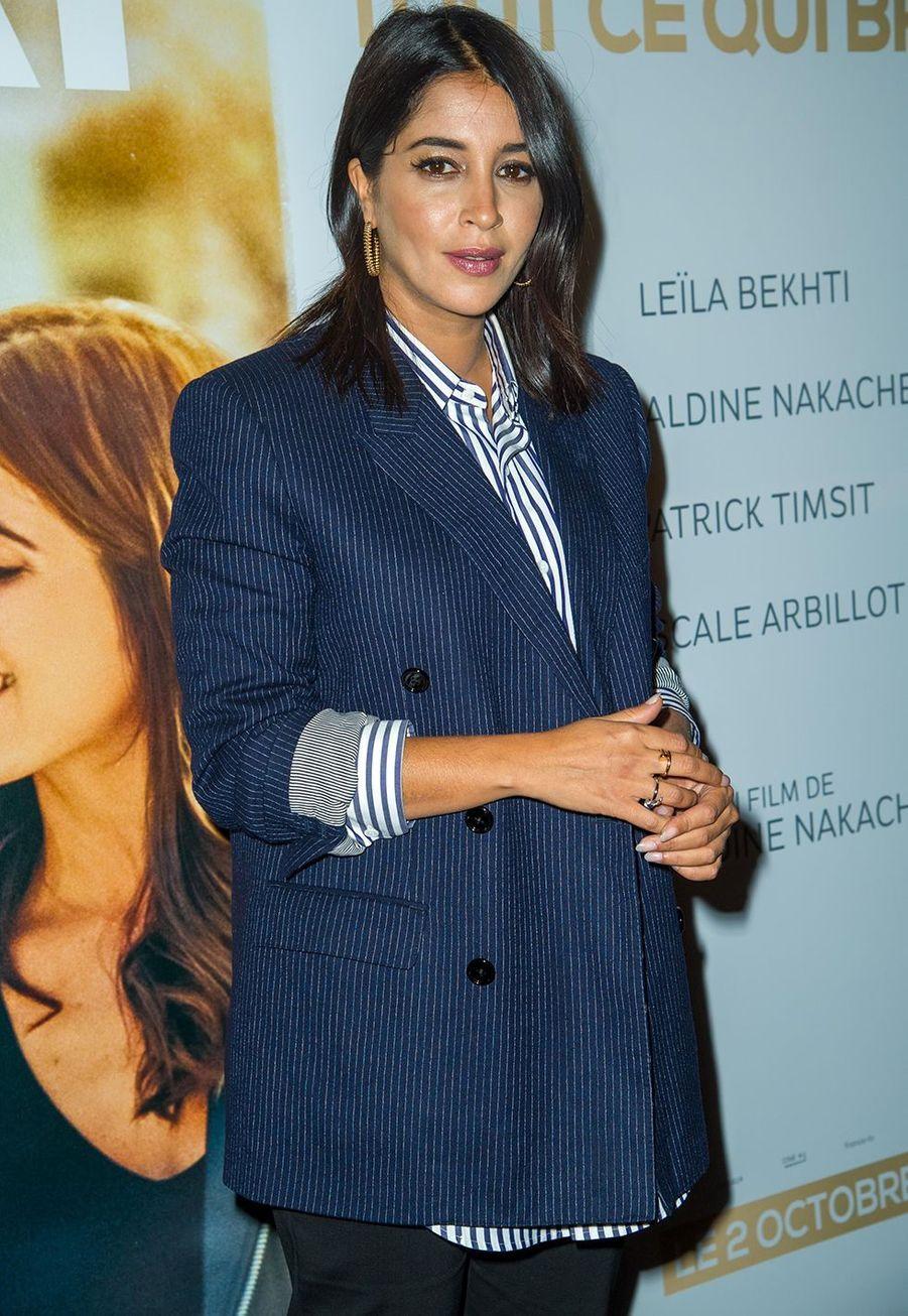 """Leïla Bekhti à la première de """"J'irais où tu iras"""" àl'UGC Ciné Cité Bercy jeudi 26 septembre 2019."""