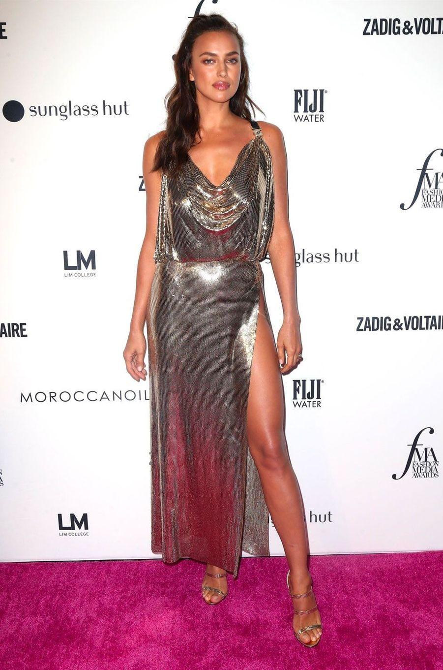 Irina Shayk à la soirée des Daily Front Row's Fashion Media Awards à New York, le 6 septembre 2018