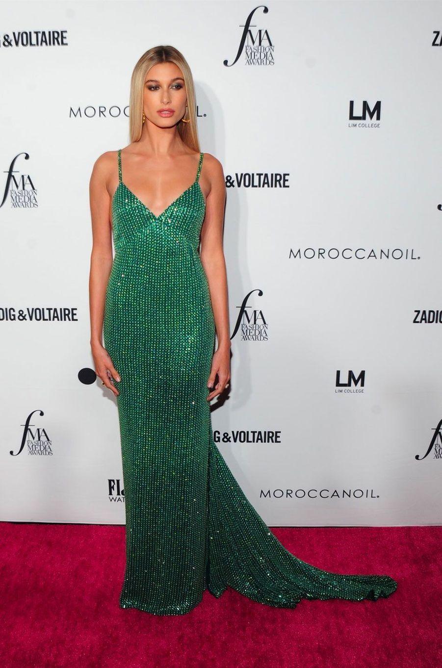 Hailey Baldwin à la soirée des Daily Front Row's Fashion Media Awards à New York, le 6 septembre 2018