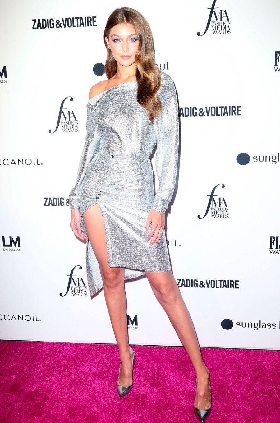 Gigi Hadid à la soirée des Daily Front Row's Fashion Media Awards à New York, le 6 septembre 2018