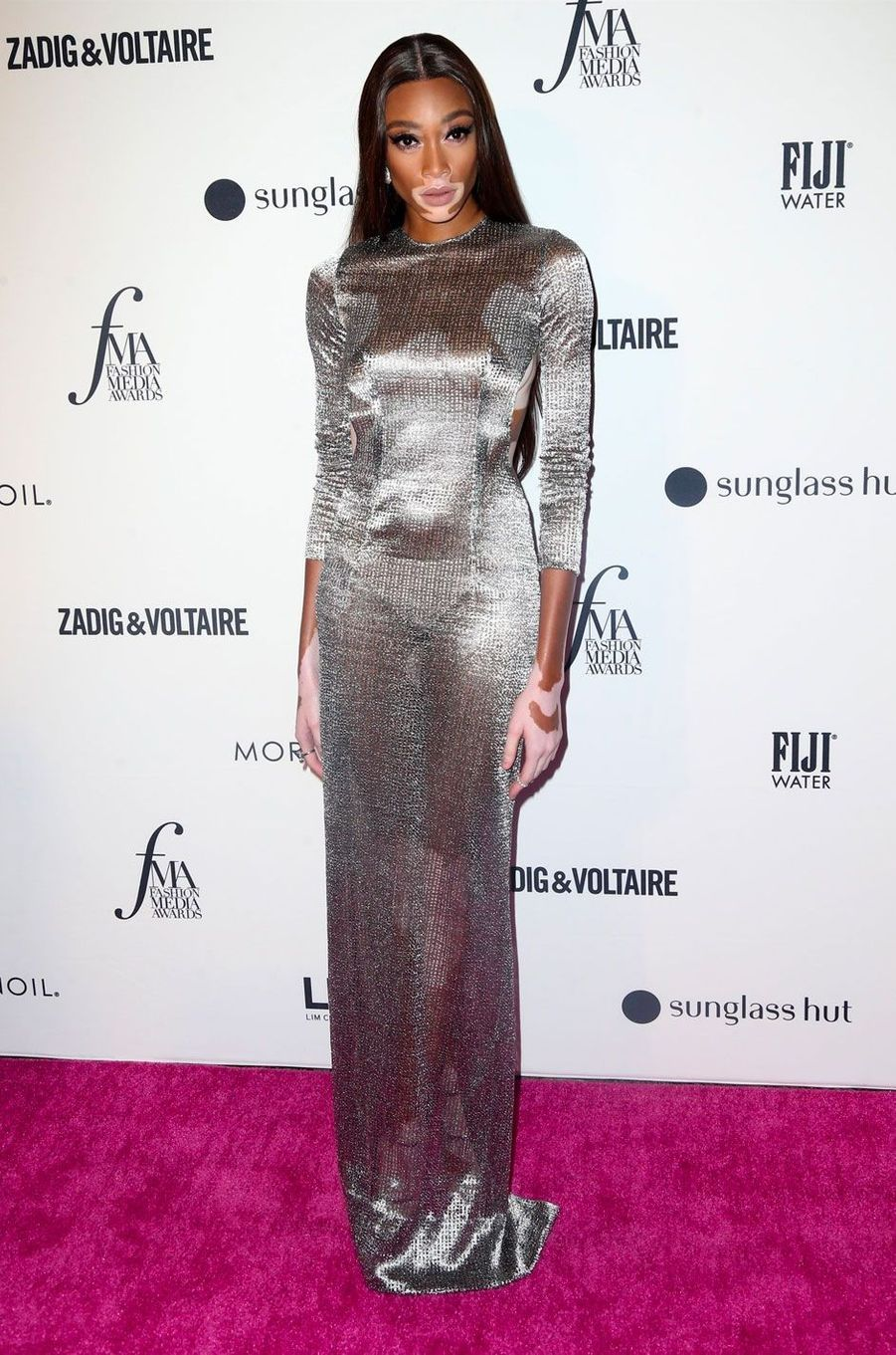 Winnie Harlow à la soirée des Daily Front Row's Fashion Media Awards à New York, le 6 septembre 2018