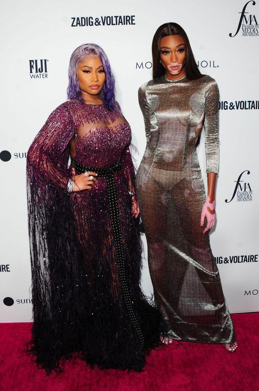 Nicki Minaj et Winnie Harlow à la soirée des Daily Front Row's Fashion Media Awards à New York, le 6 septembre 2018